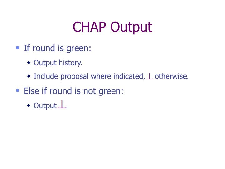 CHAP Output