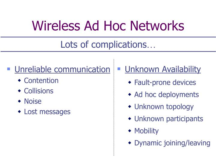 Wireless ad hoc networks1