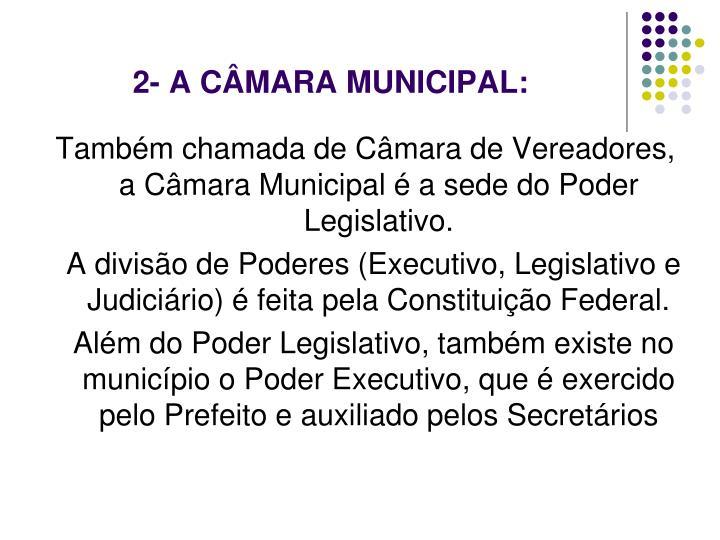 2- A CÂMARA MUNICIPAL: