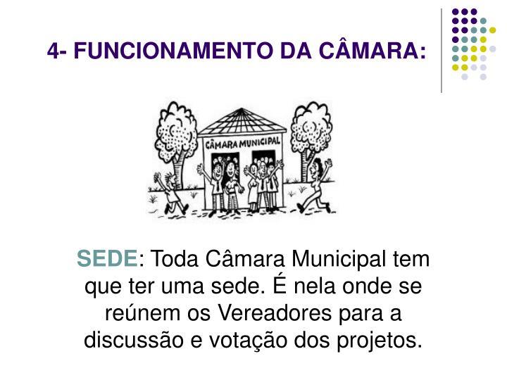 4- FUNCIONAMENTO DA CÂMARA:
