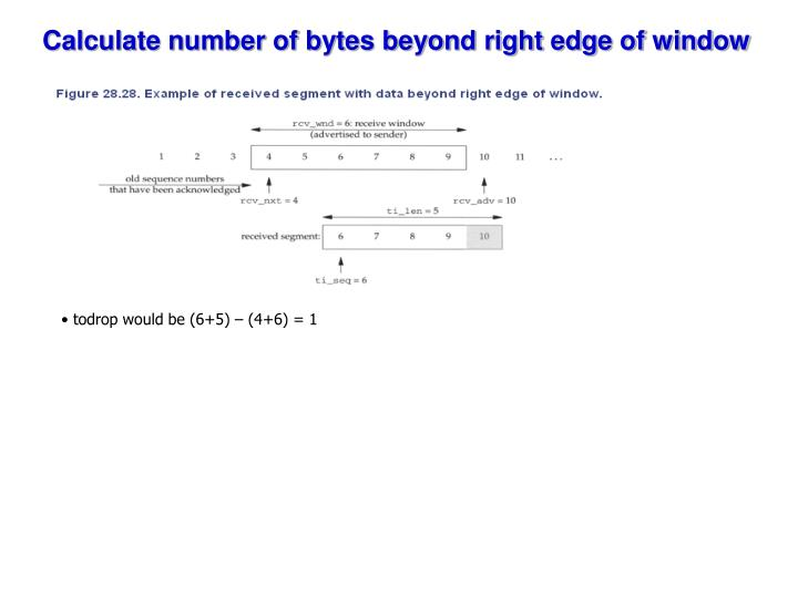 Calculate number of bytes beyond right edge of window