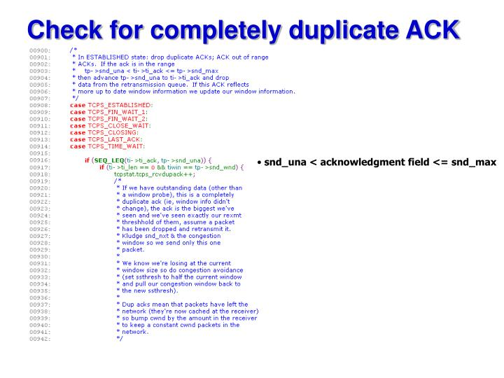 Check for completely duplicate ACK