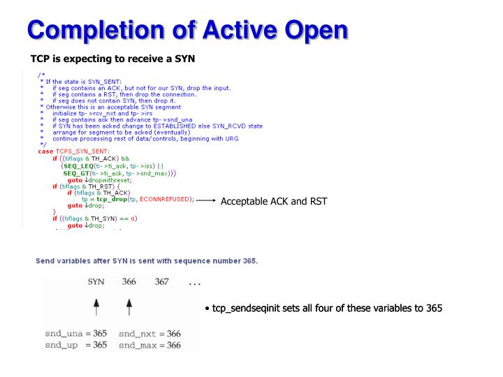 Completion of Active Open