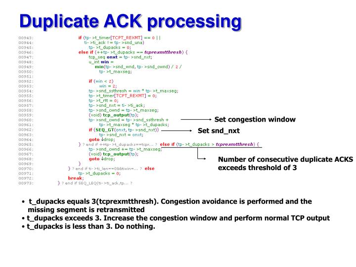 Duplicate ACK processing