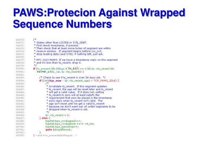 PAWS:Protecion Against Wrapped Sequence Numbers