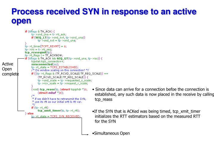 Process received SYN in response to an active open