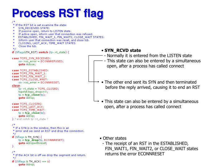 Process RST flag