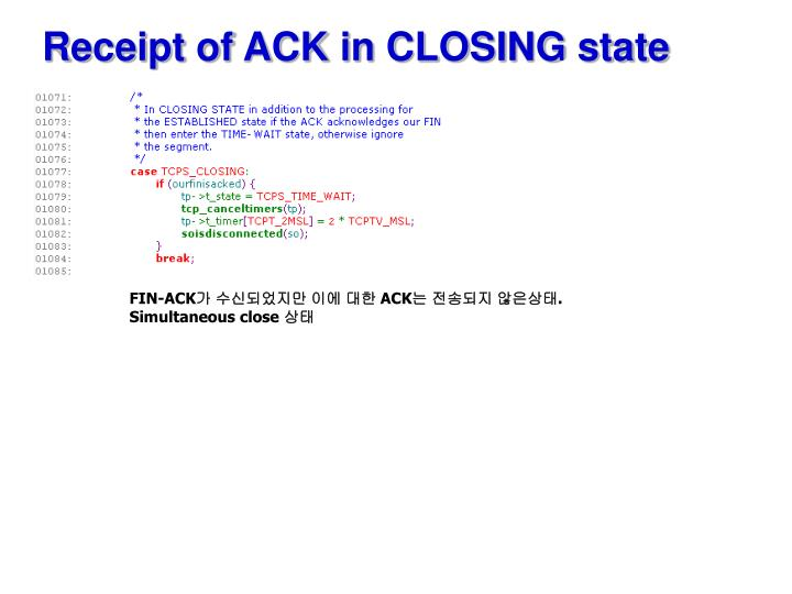 Receipt of ACK in CLOSING state