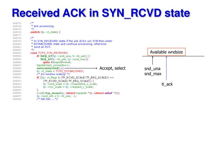 Received ACK in SYN_RCVD state