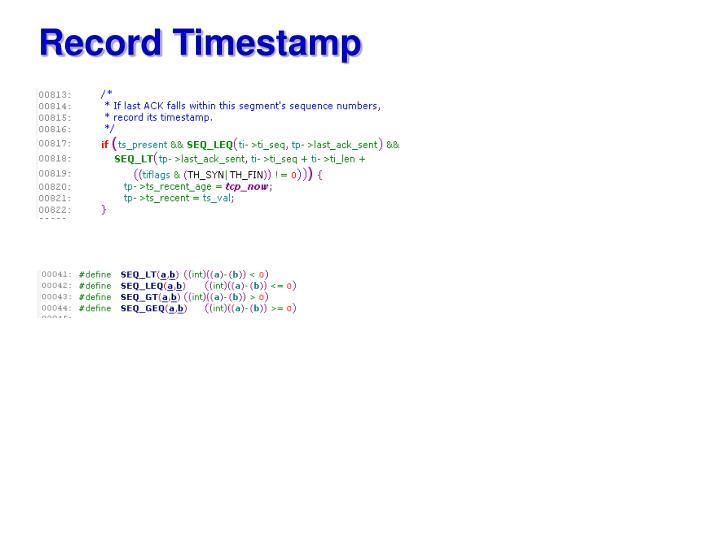 Record Timestamp