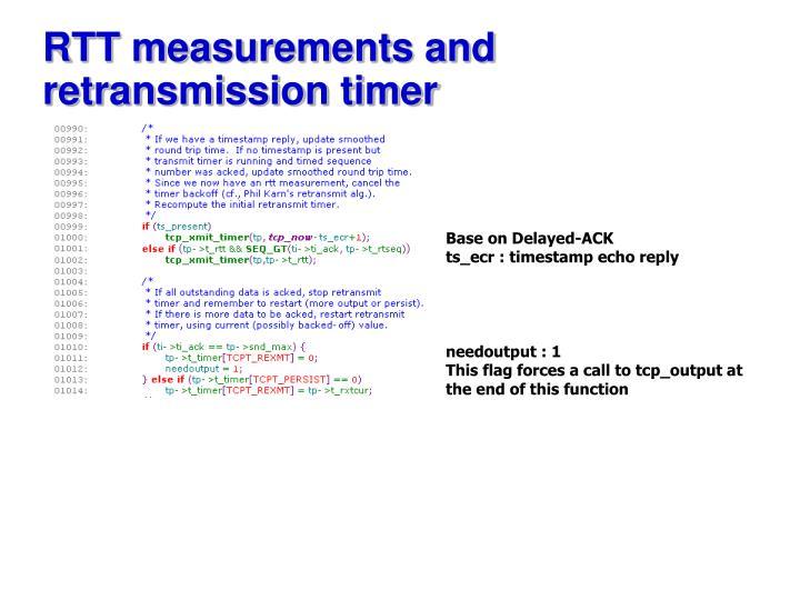 RTT measurements and retransmission timer