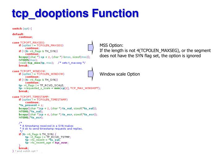 tcp_dooptions Function