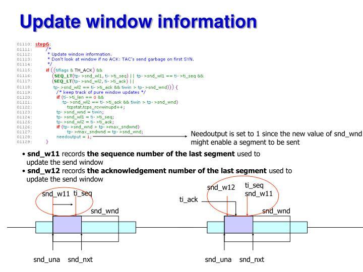 Update window information