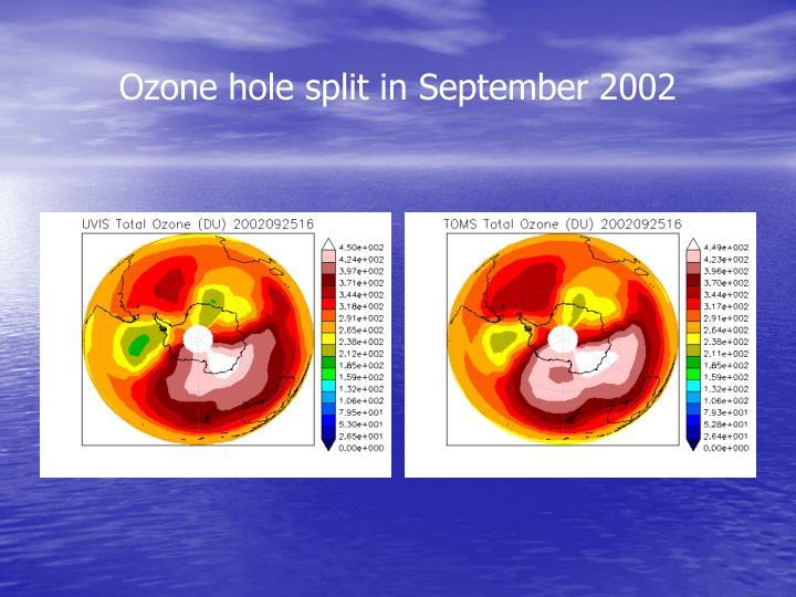 Ozone hole split in September 2002