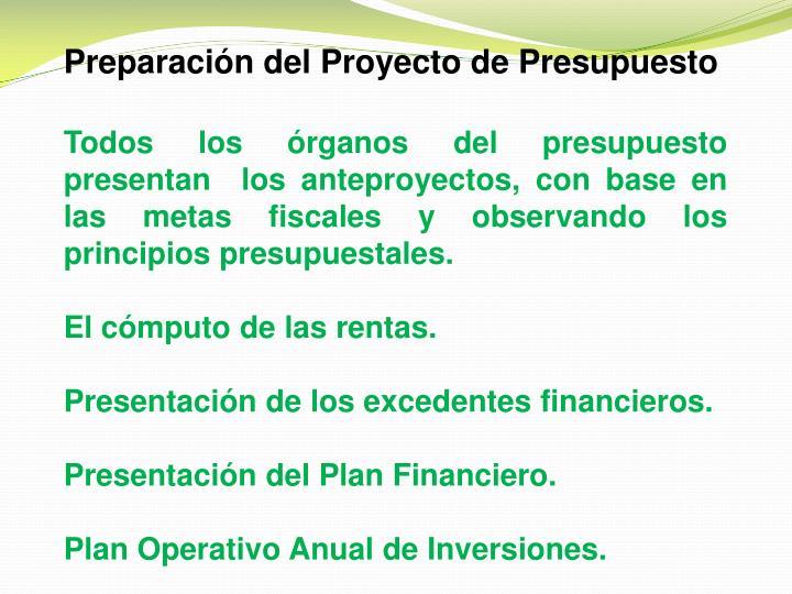 Preparación del Proyecto de Presupuesto