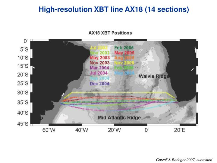 High-resolution XBT line AX18 (14 sections)