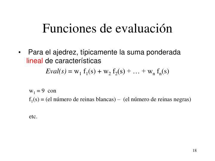 Funciones de evaluación
