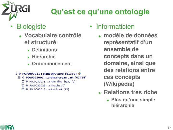 Qu'est ce qu'une ontologie