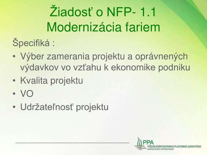 Žiadosť o NFP- 1.1