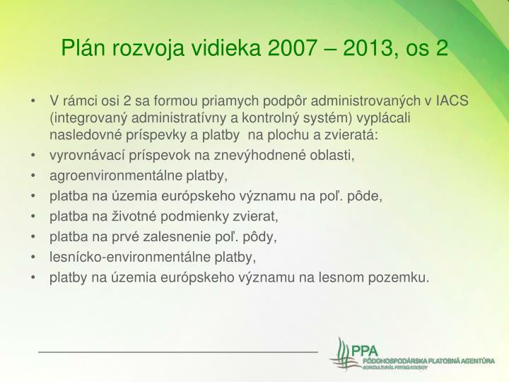 Plán rozvoja vidieka 2007 – 2013, os 2
