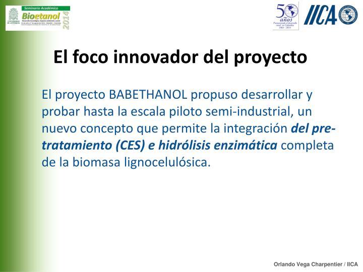 El foco innovador del proyecto