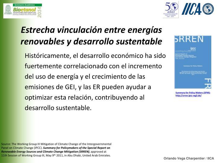 Estrecha vinculación entre energías renovables y desarrollo sustentable