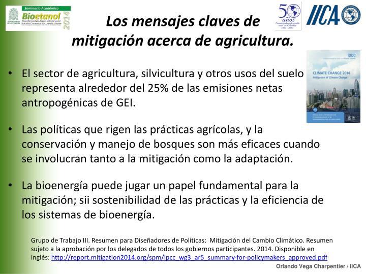 Los mensajes claves de mitigación acerca de agricultura.