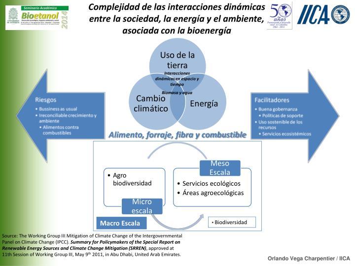 Complejidad de las interacciones dinámicas entre la sociedad, la energía y el ambiente, asociada con la bioenergía