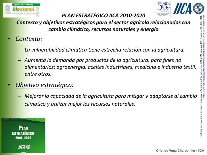 PLAN ESTRATÉGICO IICA 2010-2020