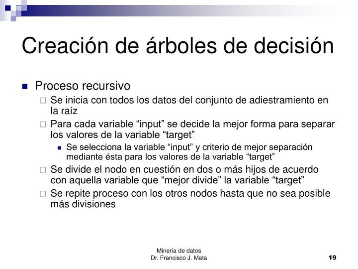 Creación de árboles de decisión