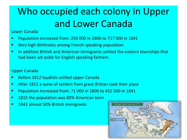 Who occupied each colony in upper and lower canada