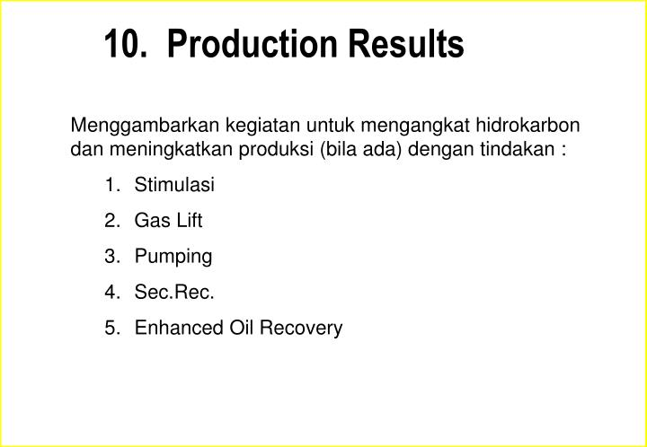 10.  Production Results