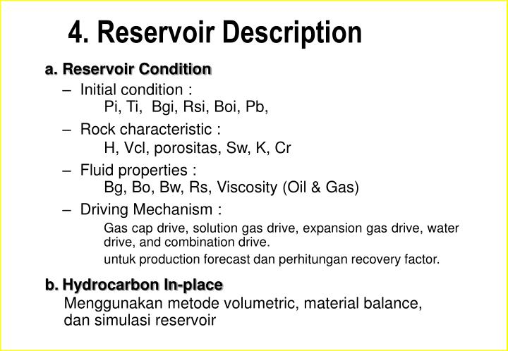 4. Reservoir Description