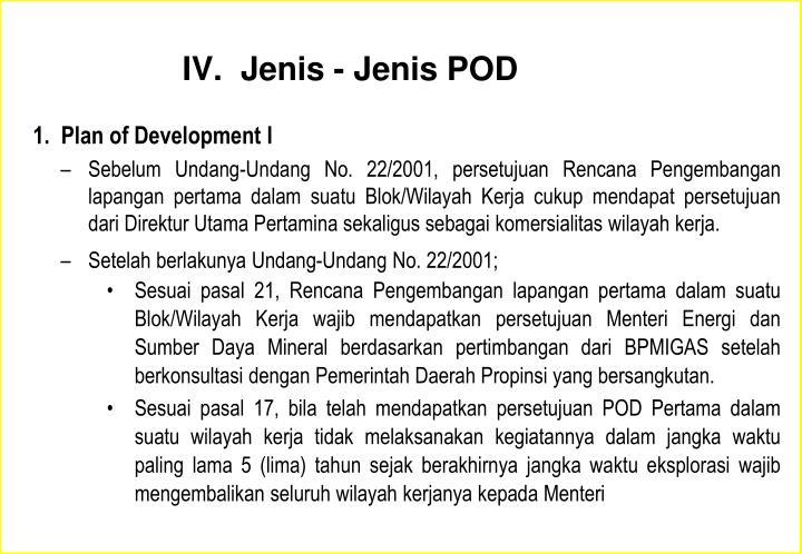 IV.  Jenis - Jenis POD