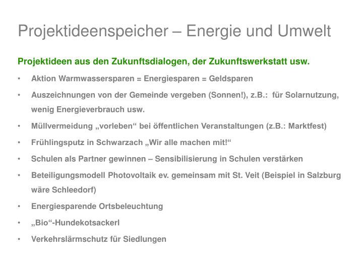 Projektideenspeicher – Energie und Umwelt