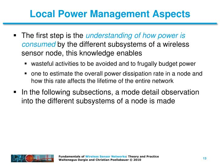Local Power Management Aspects