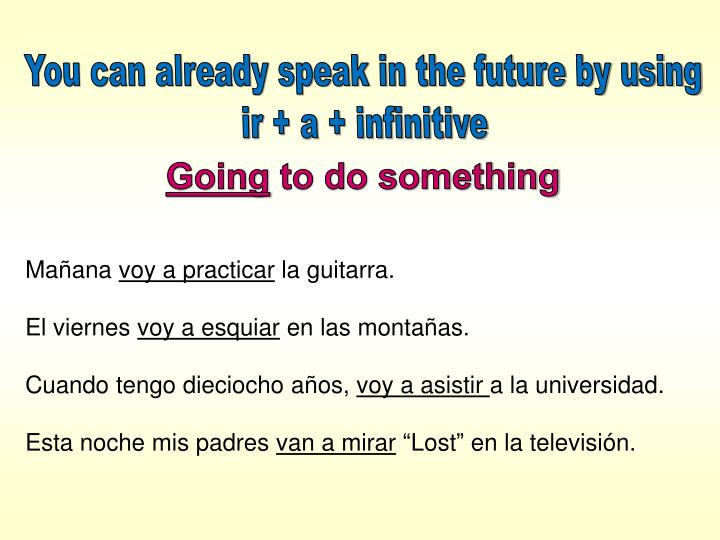 You can already speak in the future by using