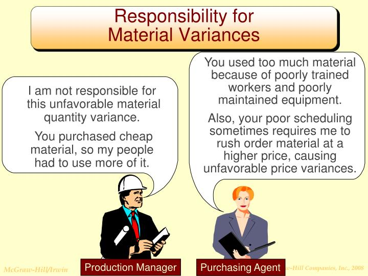You used too much material because of poorly trained workers and poorly maintained equipment.