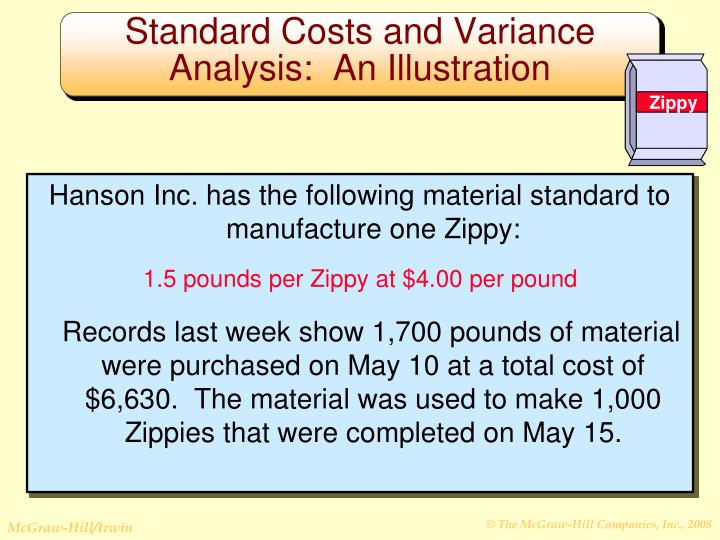 Hanson Inc. has the following material standard to manufacture one Zippy: