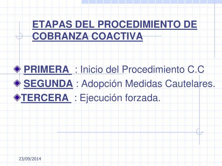 ETAPAS DEL PROCEDIMIENTO DE COBRANZA COACTIVA