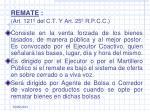 remate art 121 del c t y art 25 r p c c