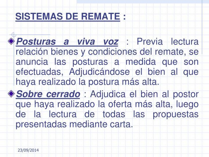 SISTEMAS DE REMATE