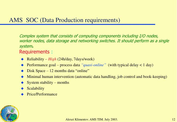 AMS  SOC (Data Production requirements)