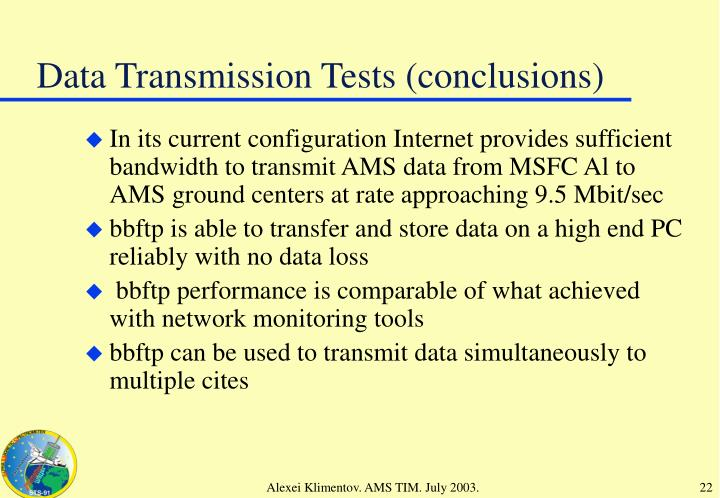 Data Transmission Tests (conclusions)