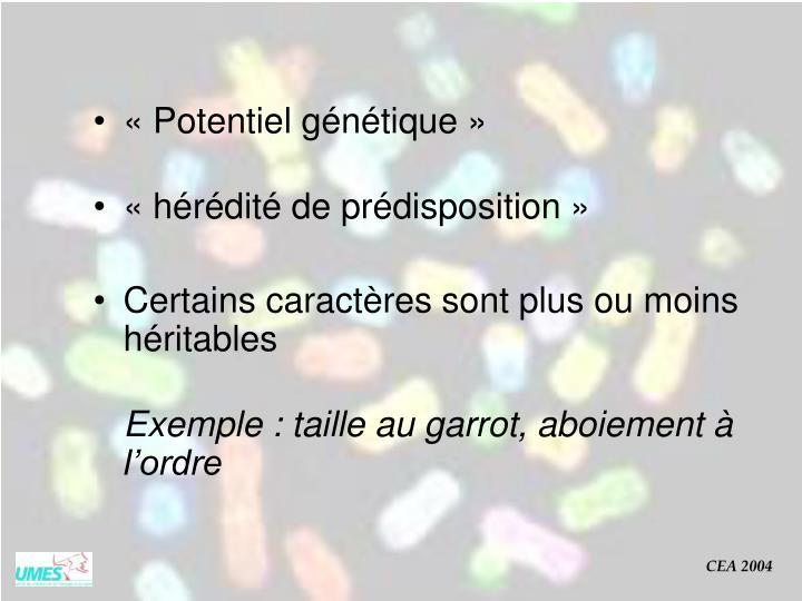 «Potentiel génétique»