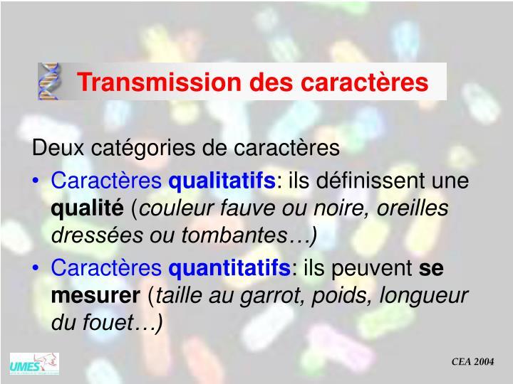 Transmission des caractères