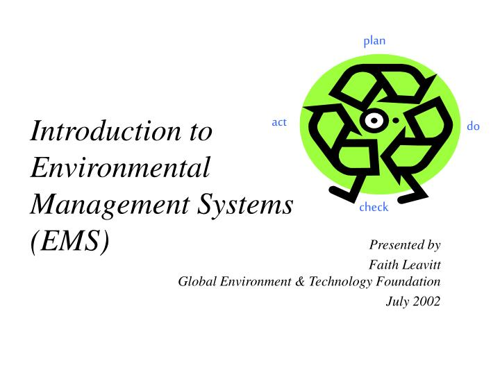 Introduction to environmental management systems ems