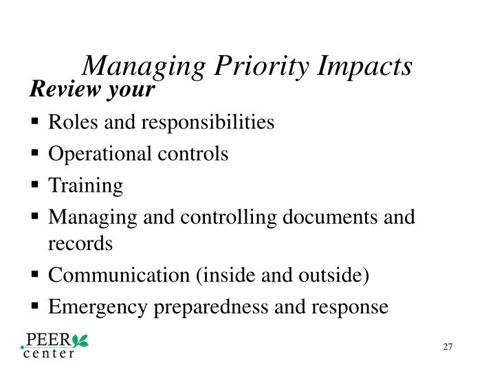 Managing Priority Impacts