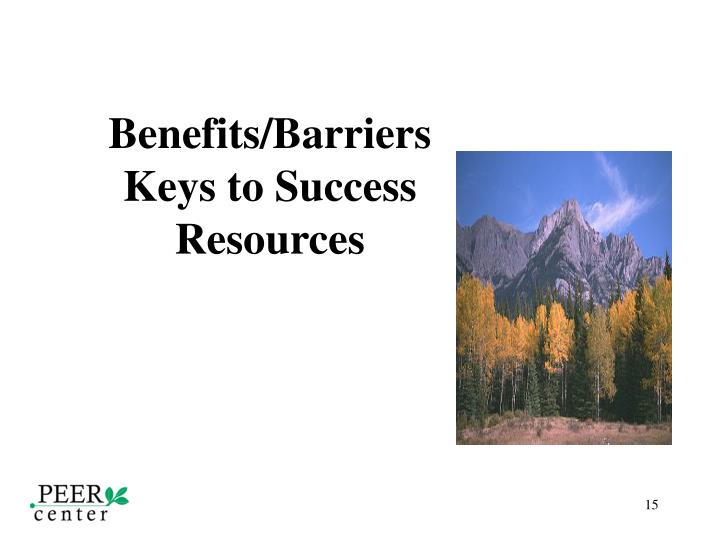 Benefits/BarriersKeys to Success