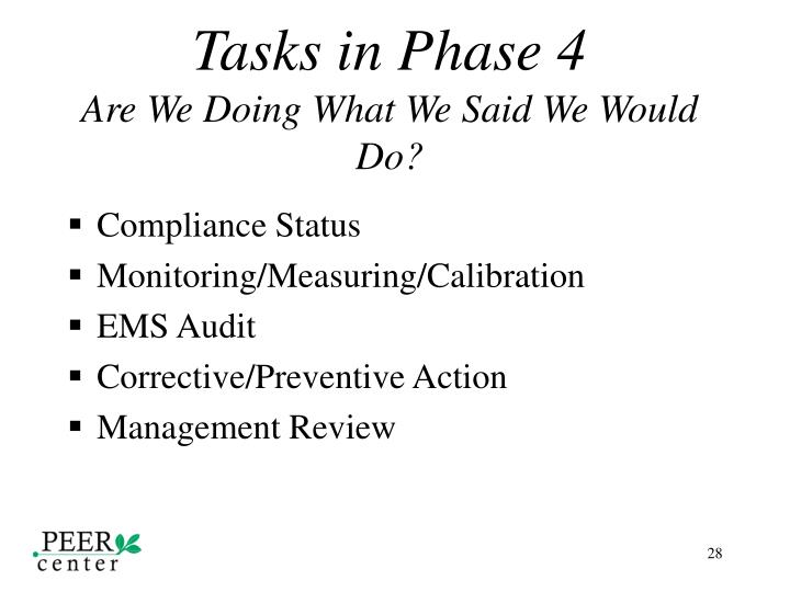 Tasks in Phase 4